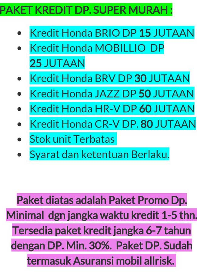 Promo Mobil Honda By Aulia