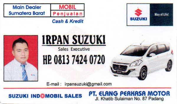 Kartu Nama Irpan Suzuki Padang