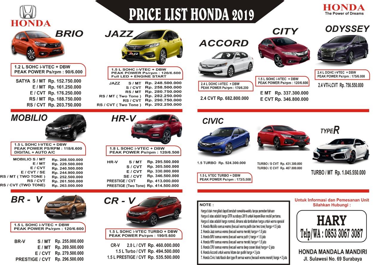 Harga Mobil Honda By Hary